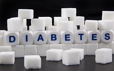 Sugar cubes with the words diabetes spelled out